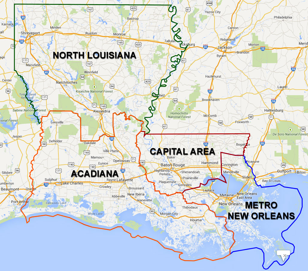 Map of the four Sections within Louisiana APA
