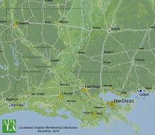 Distribution map of APA Chapter membership across Louisiana