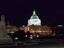 Evening view of the Capitol dome in Washington, D.C.
