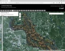 Louisiana Swipe Map of August 2016 flooded areas by ESRI