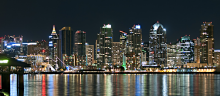 The night skyline of San Diego, CA