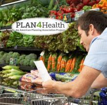 Plan4Health logo; man shopping for fresh vegetables