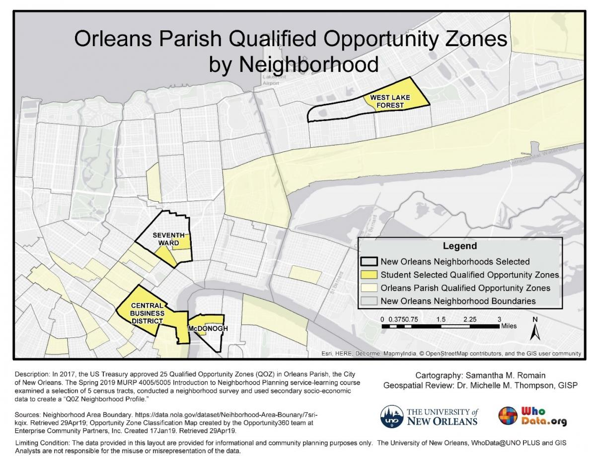 map of Qualified Opportunity Zones in New Orleans